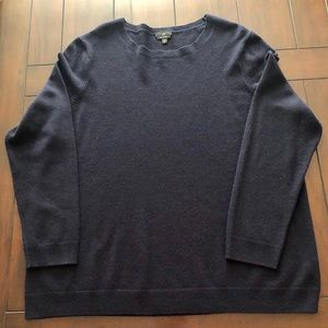 Talbots cashmere navy blue crewneck sweater